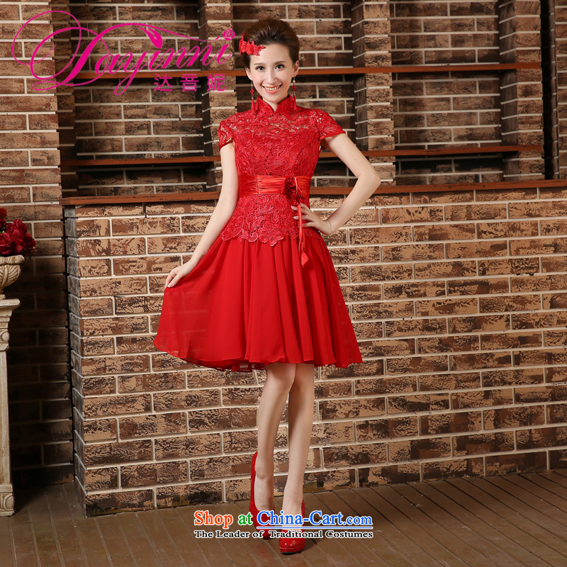2015 Spring_Summer new marriages bows dress qipao short-sleeved long kit cheongsam red聽L