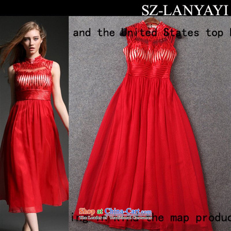 According to the EIA *2015 rain blue spring and summer new western style Heavy Industry positioning on chip Sau San long embroidery of dress dresses T2885 large red�4