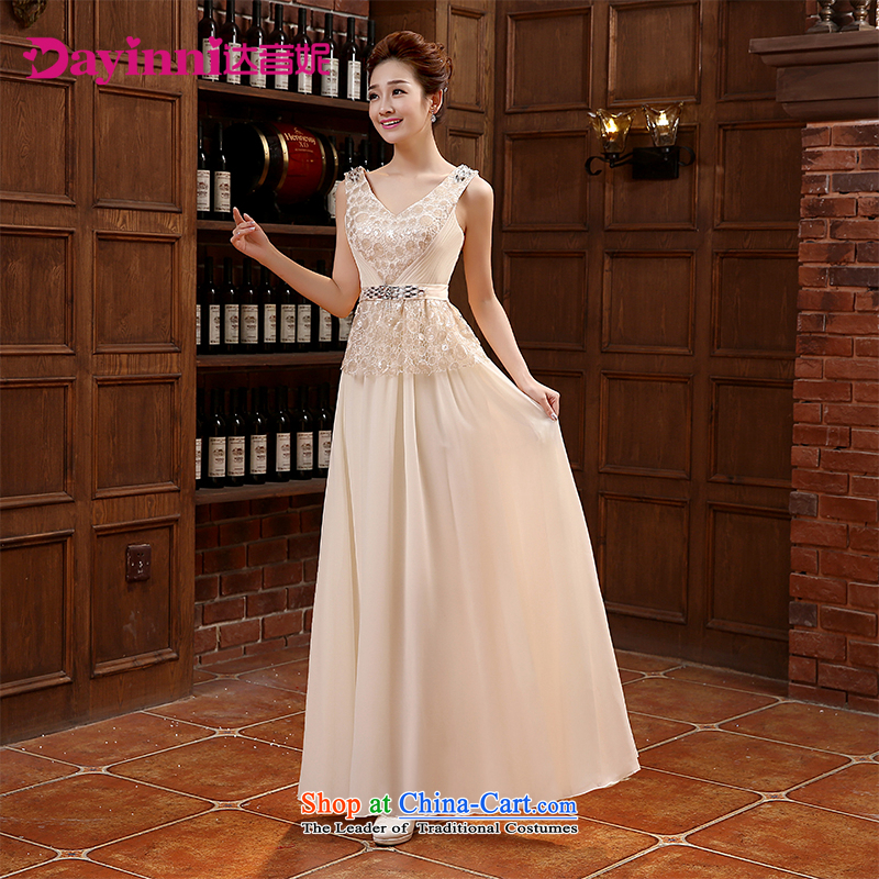 The shoulders, V-Neck long evening dresses bridesmaid Annual Meeting 2015 new evening dresses bride bows to champagne color?L
