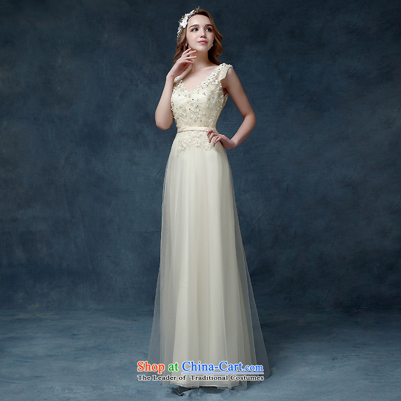 According to Lin Sha 2015 new marriages bows dress long bridesmaid service long skirt dresses champagne color dress champagne color M