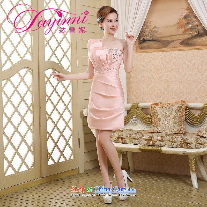 2015 new short) package and evening dress shoulder Korean Princess evening Sau San skirts and sexy aristocratic bows small dress meat pink?S