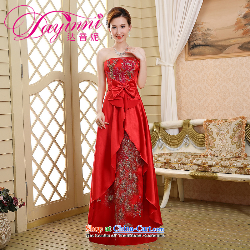 Wipe the chest pregnant women brides red bows to the new spring, 2015 evening dresses long marriage larger Sau San Female Red�S