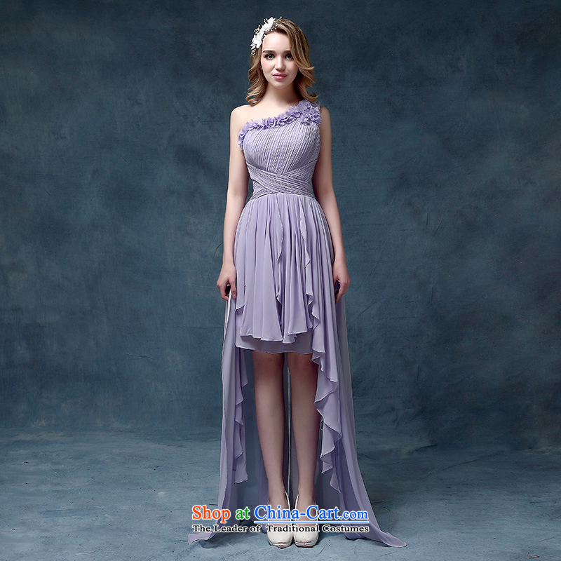 According to Lin Sha evening dresses 2015 Spring stylish marriages bows service, Ms. Mary Magdalene chest after short summer gown purple�L