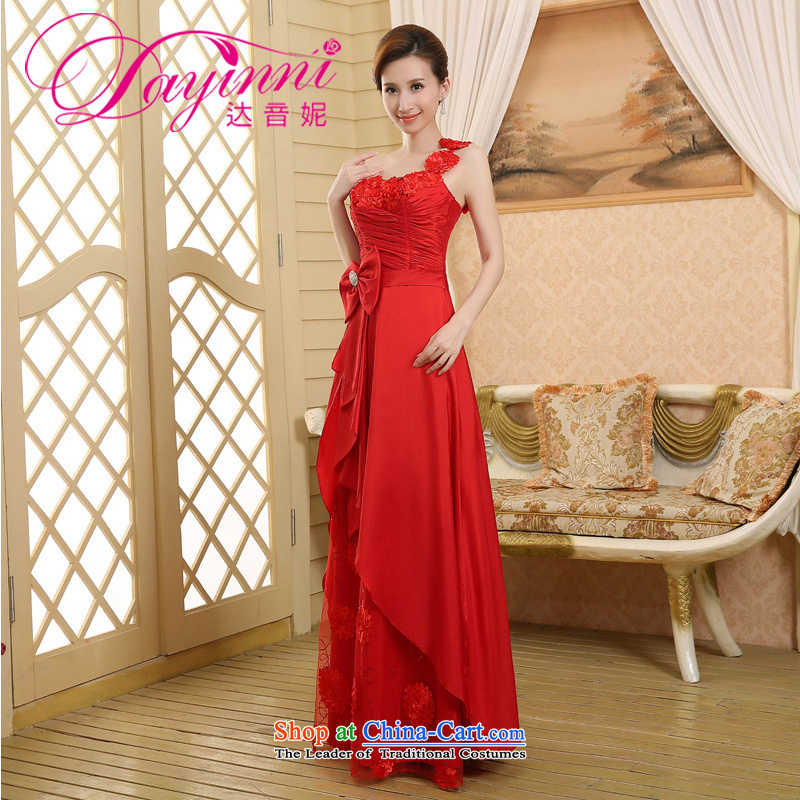 2015 wedding dresses new bride wedding dress uniform evening drink red single shoulder length_ Red聽XXL