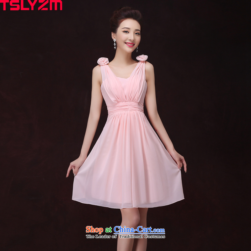 Tslyzm bridesmaid dress skirt autumn and winter 2015 new pink short, thin and sisters in Sau San video boudoir honey small dress will host?a dinner dress shoulders V-Neck?S