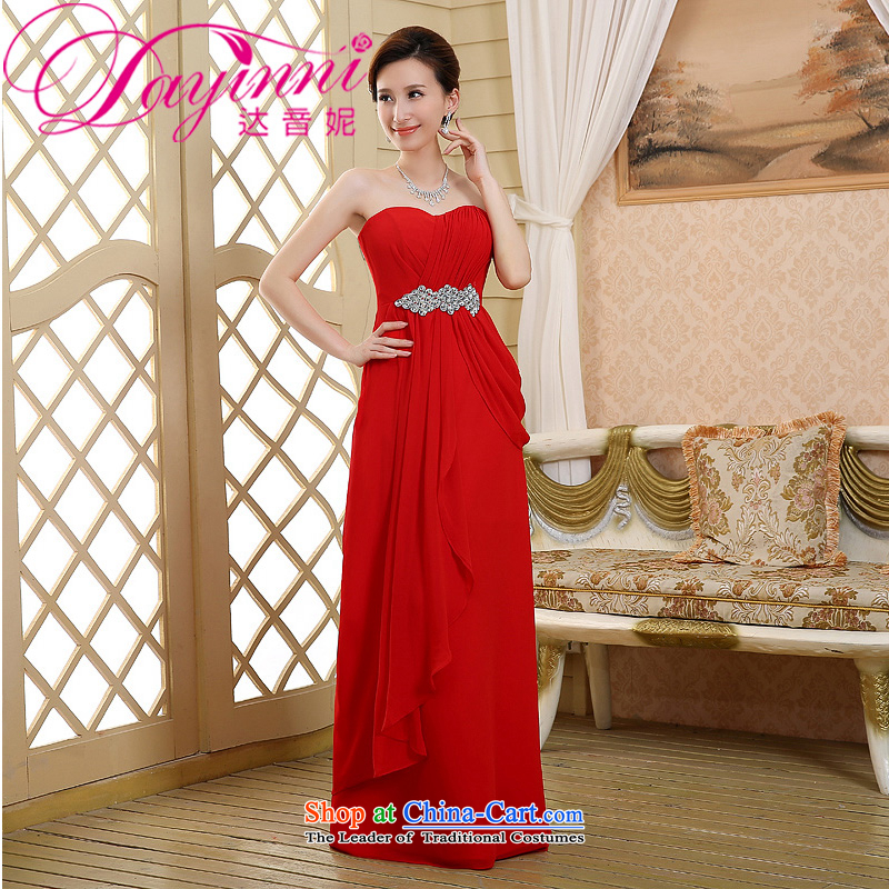 2015 new red long marriages bows dress thin dress Sau San graphics and pregnant women, breast red?L