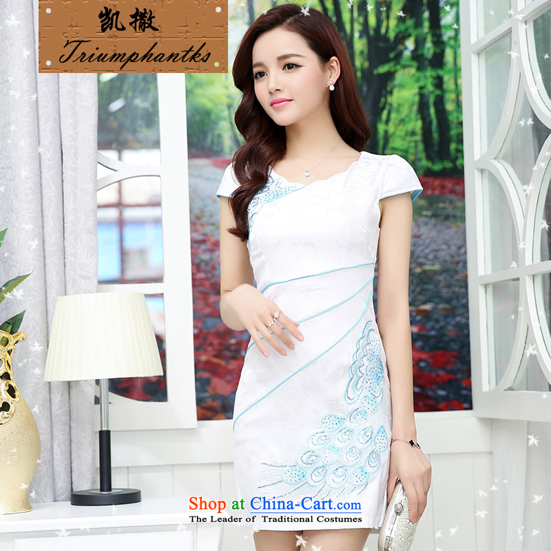 Caesar 684 new summer for women stylish Sau San short-sleeved round-neck collar embroidered dress qipao video thin bride bridesmaid evening dress bows services white with blue XL