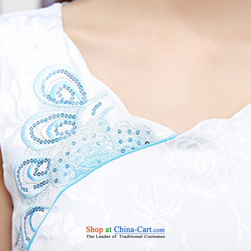 Caesar 684 new summer for women stylish Sau San short-sleeved round-neck collar embroidered dress qipao video thin bride bridesmaid evening dress uniform white blue XL,TRIUMPHANTKS,,, bows shopping on the Internet