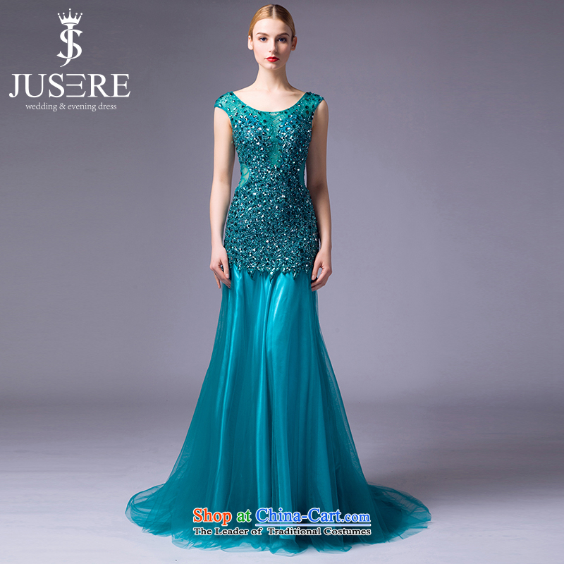 There is a gradually?2015 new Tsing wedding dresses marriages bows services evening dress will preside over the shoulders crowsfoot lake services tailored blue