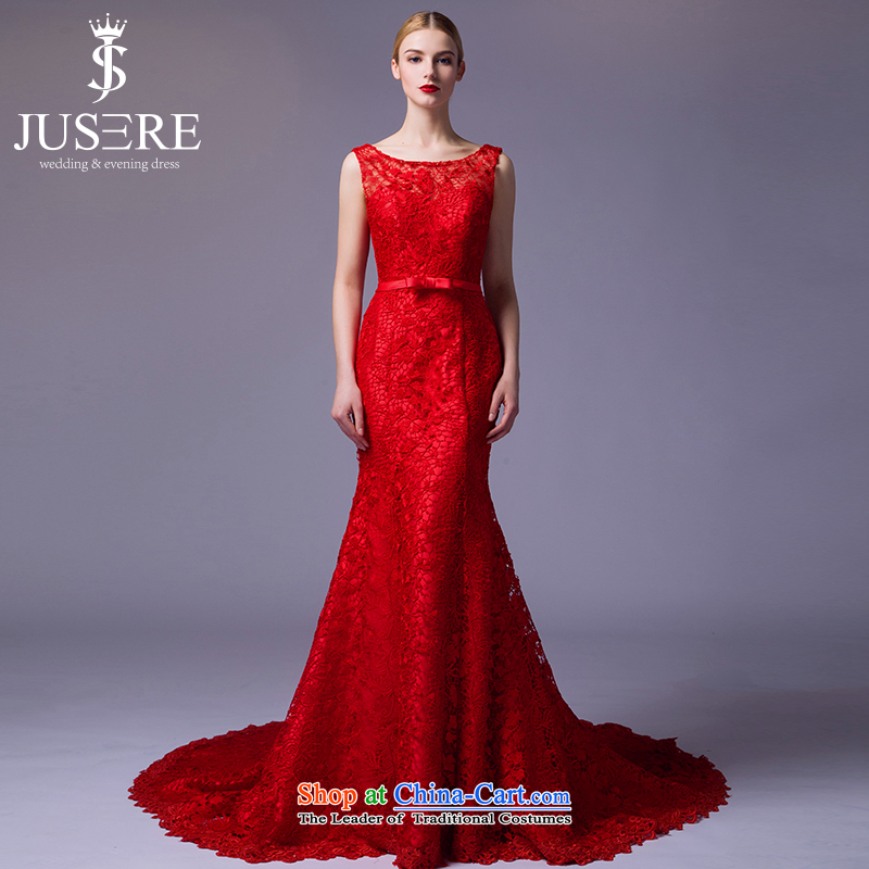 There is a scene in?2015 followed the new service banquet evening dress will preside over the shoulders, round-neck collar lace red tailored