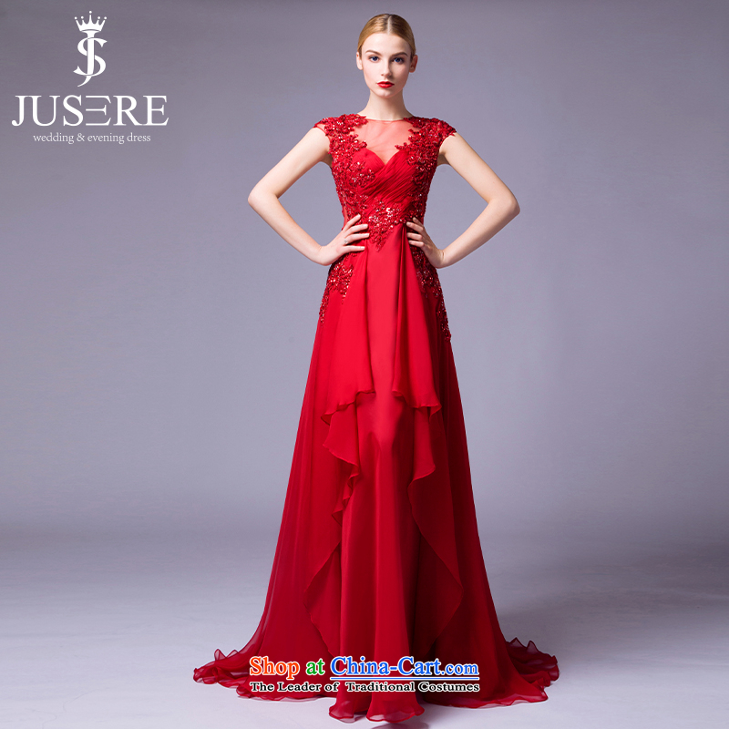 There is located on see pity marriages bows service banquet dinner dress will preside over the shoulders, round-neck collar V-Neck tailored red