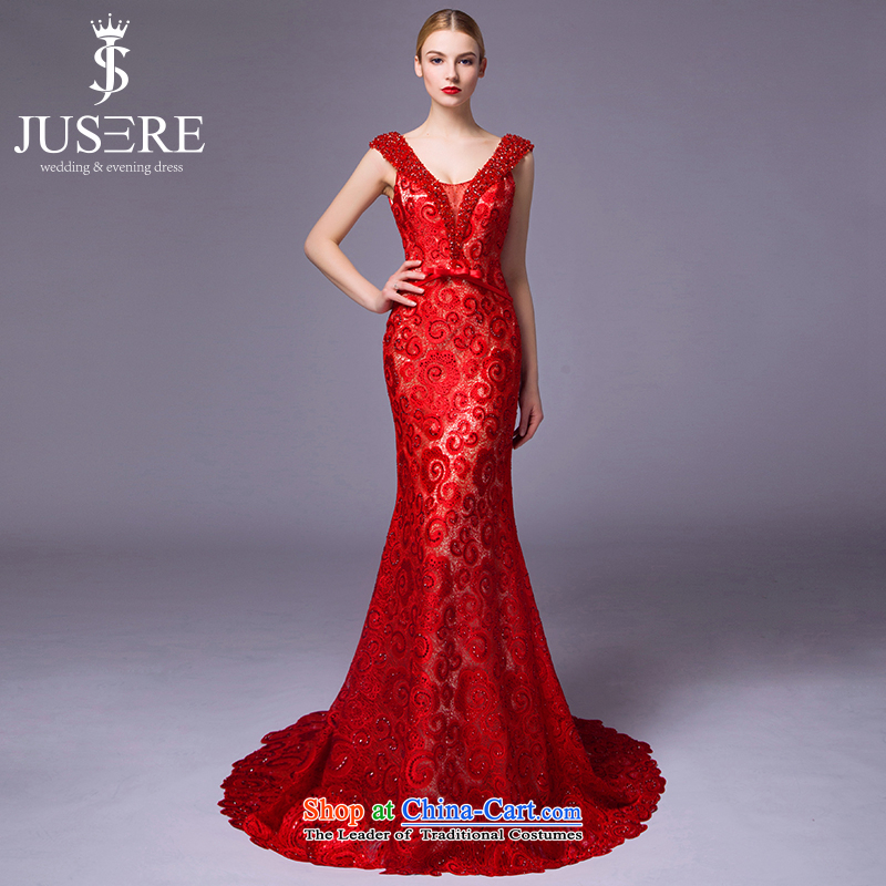 The hook is by no means?new 2015 kiss bows service banquet dinner dress will preside over the shoulders, serving embroidery crowsfoot V-Neck tailored red