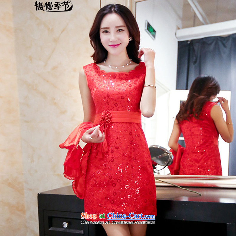 2015 summer season arrogance bride bows to the skirt wedding dress in long red stylish evening dresses and back door girl pictures chest color?M