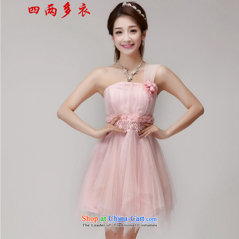 4 two more?bridesmaid mission in 2015 Yi dress banquet dinner dress short skirts, small sister dress1563 pink?M