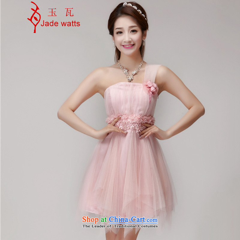 Yuk-W? 2015 bridesmaid mission dress evening dress sister skirts banquet short of small dress 2477th pink?M
