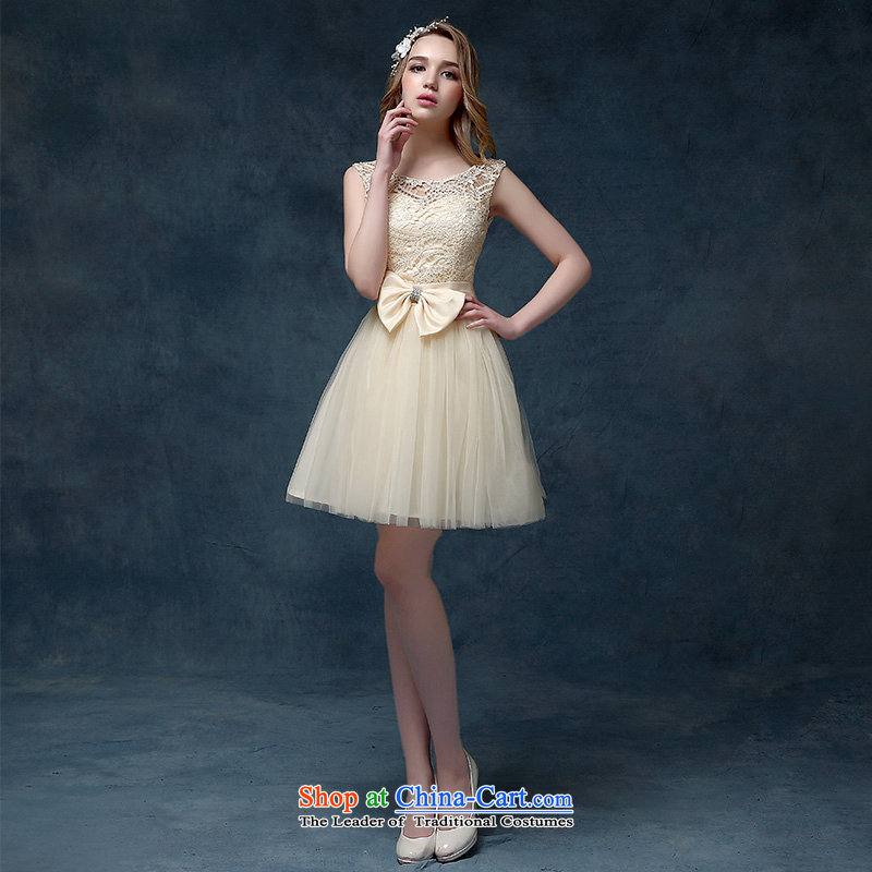 According to Lin Sa 2015 Spring/Summer new champagne color bridesmaid Dress Short) bows Service Bridal shoulders bon bon skirt champagne color?XL