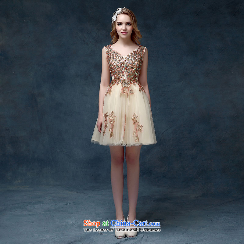 According to Lin Sha 2015 new bride dress stylish bridesmaid serving evening dresses champagne color Korean small dining Dress Short spring, champagne color?L