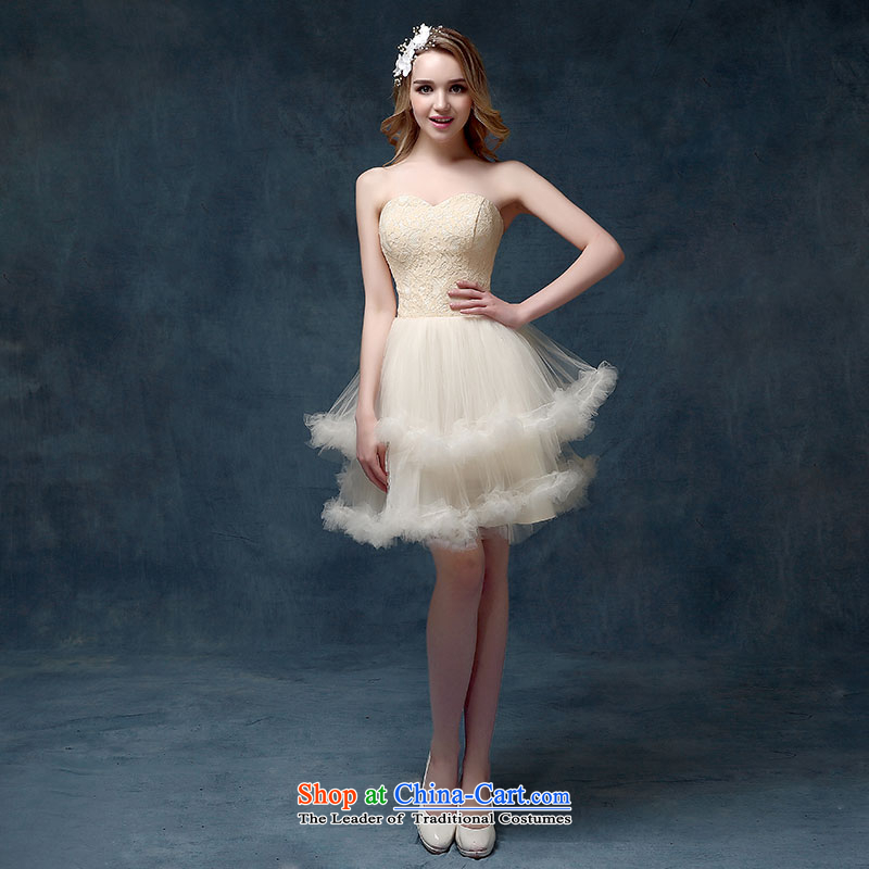 According to Lin Sa 2015 Spring/Summer New Wedding Dress Short-sleeved blouses and dresses bows service classic bridesmaid to Korean champagne color?XL