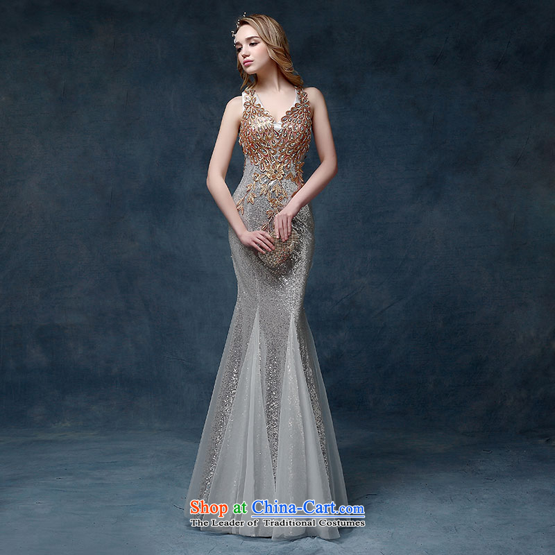 2015 new evening dresses long shoulders Sau San crowsfoot marriages Annual Dinner of the bows services under the auspices of dress silver M