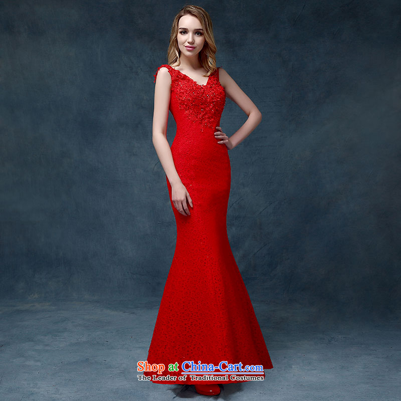 According to Lin Sa 2015 Spring/Summer new stylish marriages bows to shoulder a crowsfoot video thin crowsfoot evening dresses female RED?M