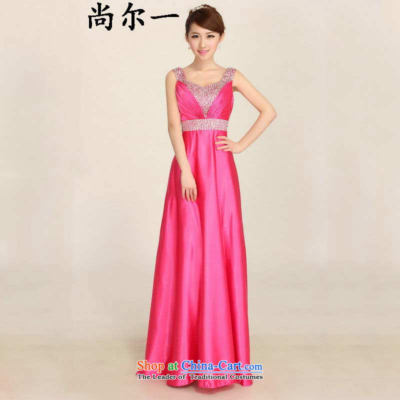 Dr Philip optimize new products for summer 2015 Long marriages bows dress shoulders nail pearl bridesmaid evening dress in RED燤 ylf001