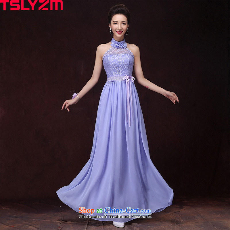 Tslyzm bridesmaid dress long light purple evening dresses women's sister in the skirt 2015 new autumn and winter hosted a dress�C performances temperament hang History�S