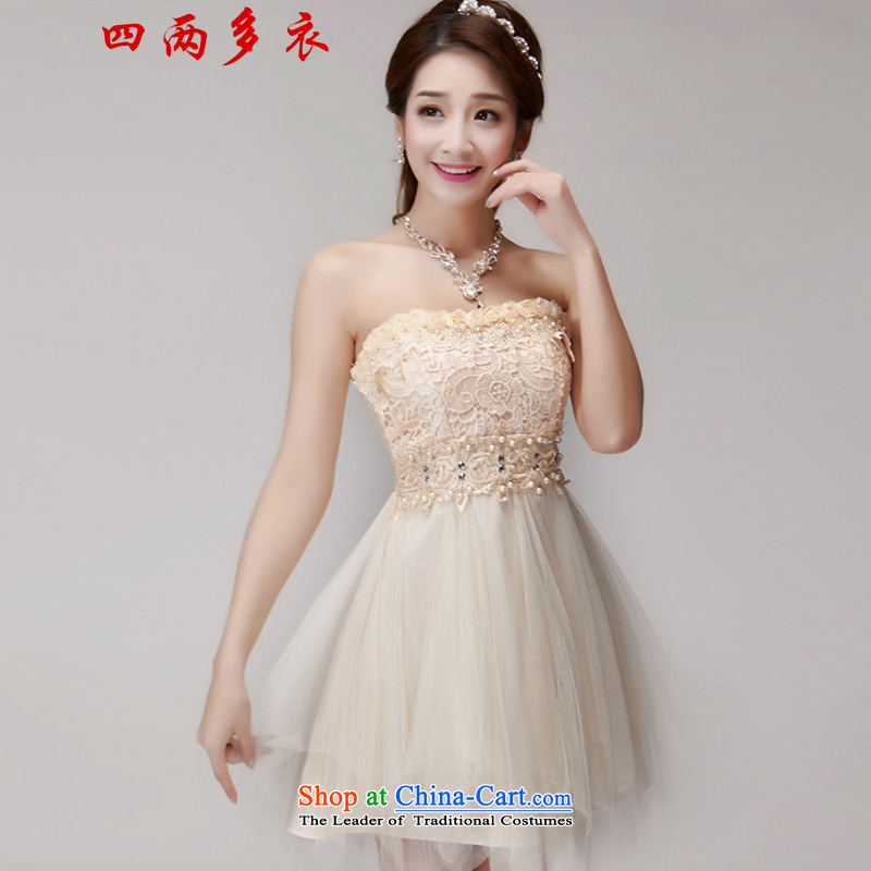 Four two-yi?2015 Summer manually staple Pearl Diamond Sau San dresses bridesmaid group temperament and chest evening dresses 1564 apricot?S