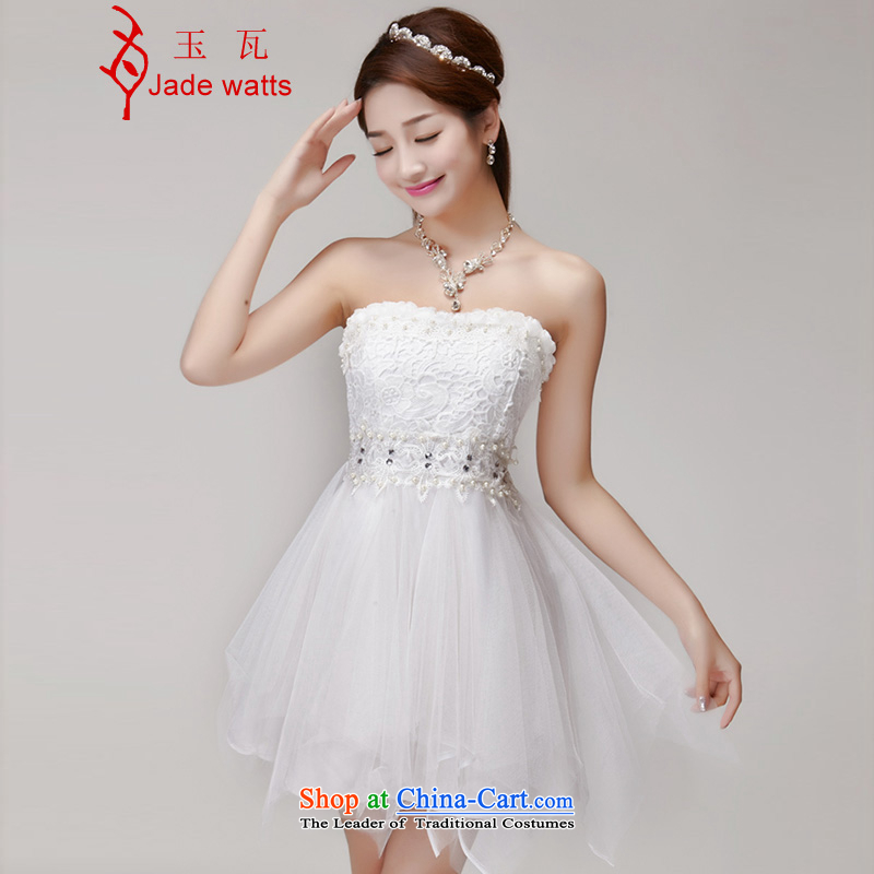 Yuk-W聽2015 manually staple Pearl Diamond Sau San dresses bridesmaid group temperament and chest evening dresses 2478 White聽S