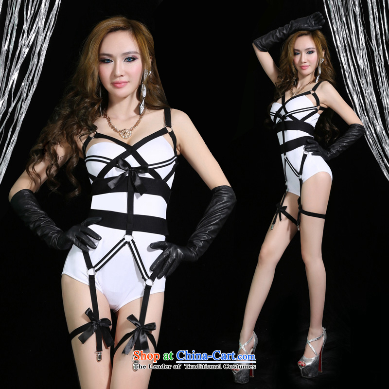 In accordance with the hip new dance western bars nightclubs female ds costumes and sexy dance DJ services-jazz stage costumes white聽S聽small code