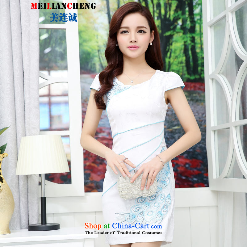 Mei Lin Shing 2015 new cheongsam summer stylish and elegant reminiscent of the daily dress of the Sau San embroidery cheongsam dress Hester Prynne color