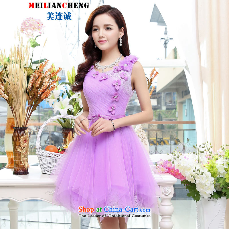 Mei Lin Shing 2015 Summer elegant ladies chiffon embroidery sleeveless dresses dress large skirt sister replacing bridesmaid services purple�M