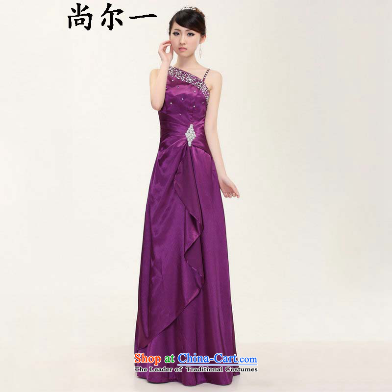 Dr Philip optimize new products for summer 2015 bride long marriage dinner evening dresses shoulder bows services Beveled Shoulder evening dress ylf003 purple?L