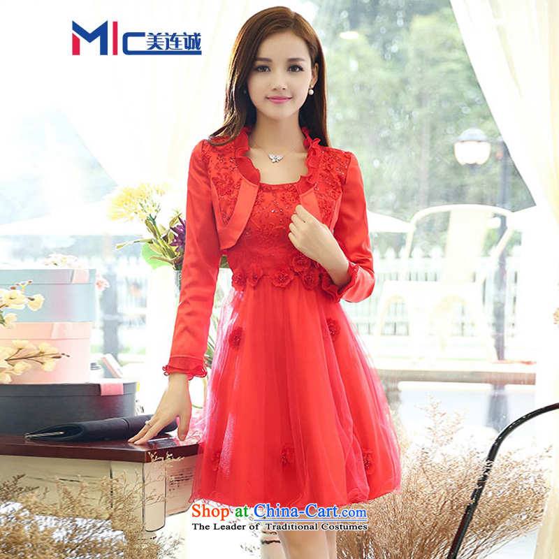 Mei Lin Shing 2015 married women serving drink spring and summer new lace back door onto Red two kits dresses bridesmaid booking wedding dress red XXL