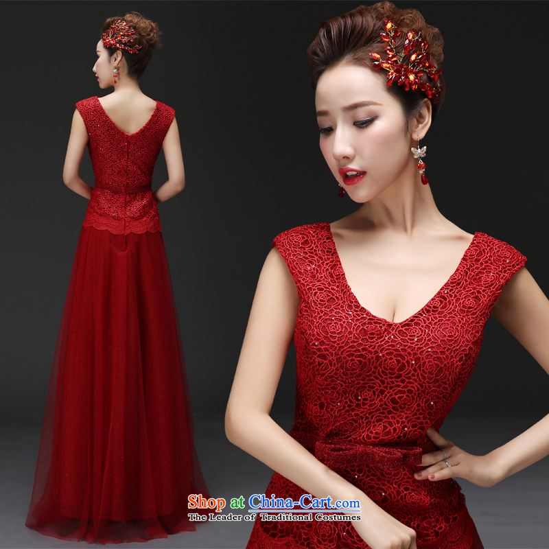 However Service Bridal Fashion 2015 New Red Dress long Sau San shoulders lace marriage evening dresses spring deep red made no refund is not shifting