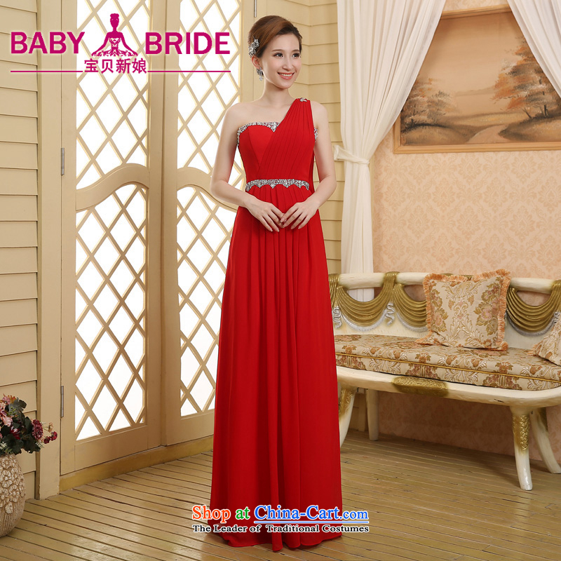 2015 new bride dress bows services shoulder evening dresses long under the auspices of the Chorus will Sau San Red?XXL
