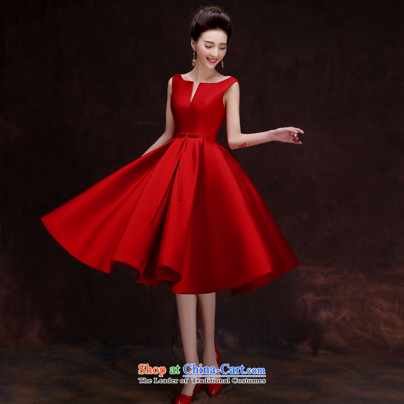 The privilege of serving-leung 2015 new bride bows to the summer and fall of Red Dress Chinese wedding dresses skirts small Ms. wine red燲L