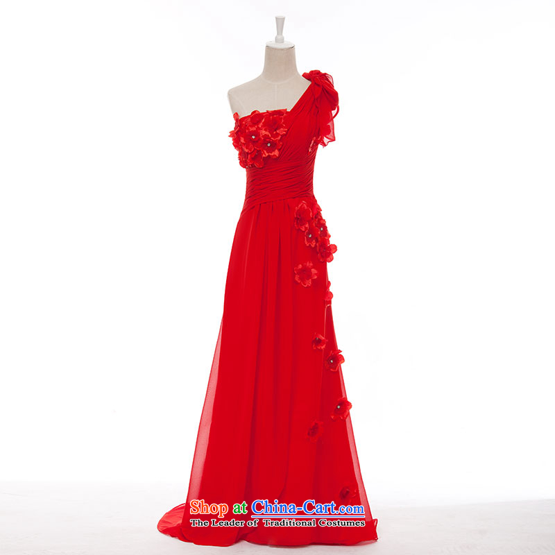 Millennium bride?2015 Spring/Summer new single shoulder length of small trailing champagne color evening dresses marriages bows services L678 red 30 cm small increase XXXL/26 tail