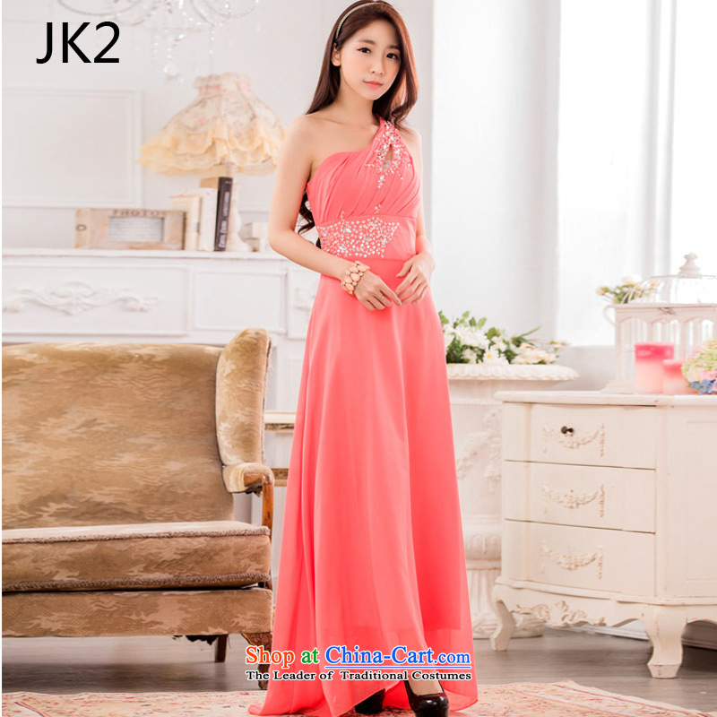 �The auspices of Dinner show dresses JK2 stylish shoulder chiffon Pearl of the Staple manually long evening dress�orange are Code 9633