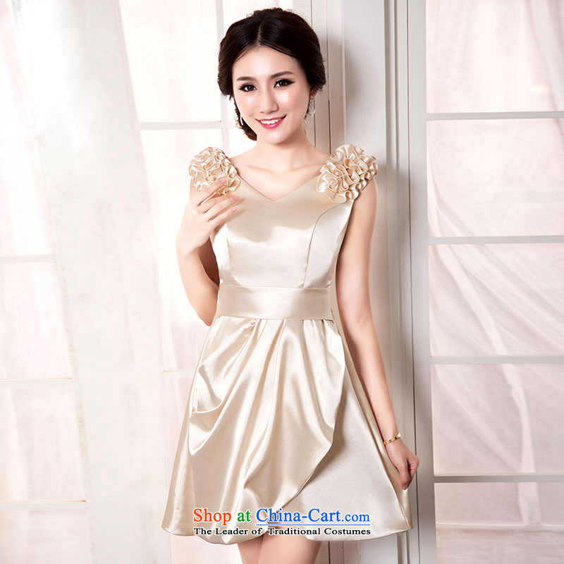 Millennium bride 2015 new shoulders flowers) does not rule short skirt as bridesmaid service mission sister stylish bon bon skirt small dress D1011 XL/22 champagne color
