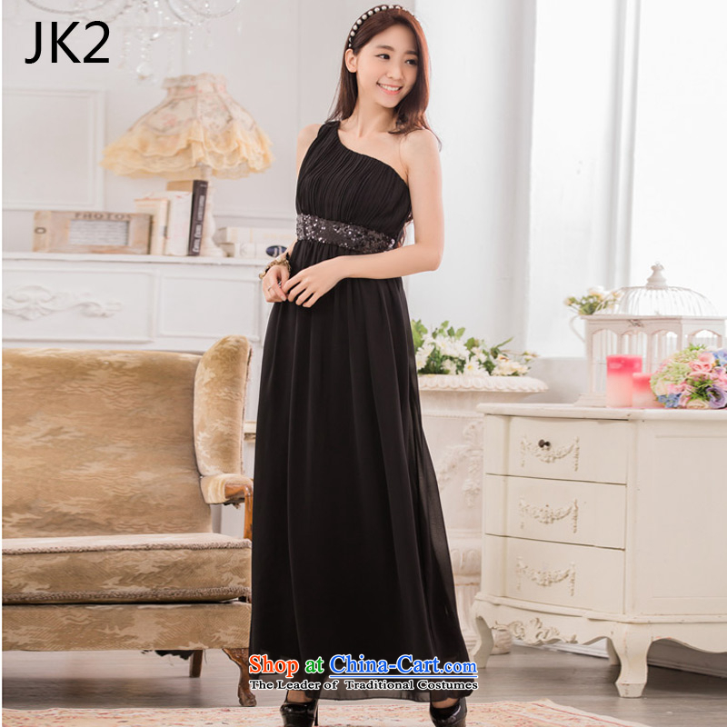 Stylish appearance shoulder Foutune of video thin chiffon dress manually staple-ju long evening dresses dresses�JK2�s 1,379,634��XXXL black