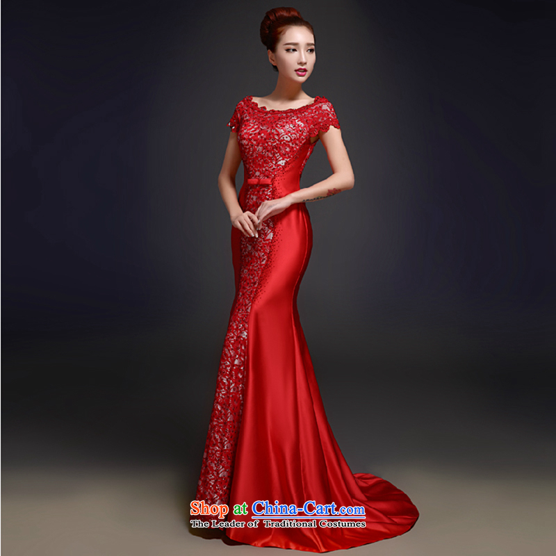 The first white into about?2015 New Red Wedding banquet service bridal toasting champagne evening dresses crowsfoot tail length of Sau San, Wedding Dress Red?XL