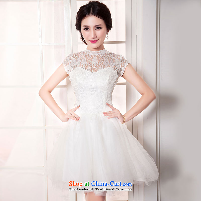Millennium bride?2015 new French white lace small Dress Short, shoulders in Korea version of SISTER bridesmaid services stylish bon bon skirt D6046?XL/22 White