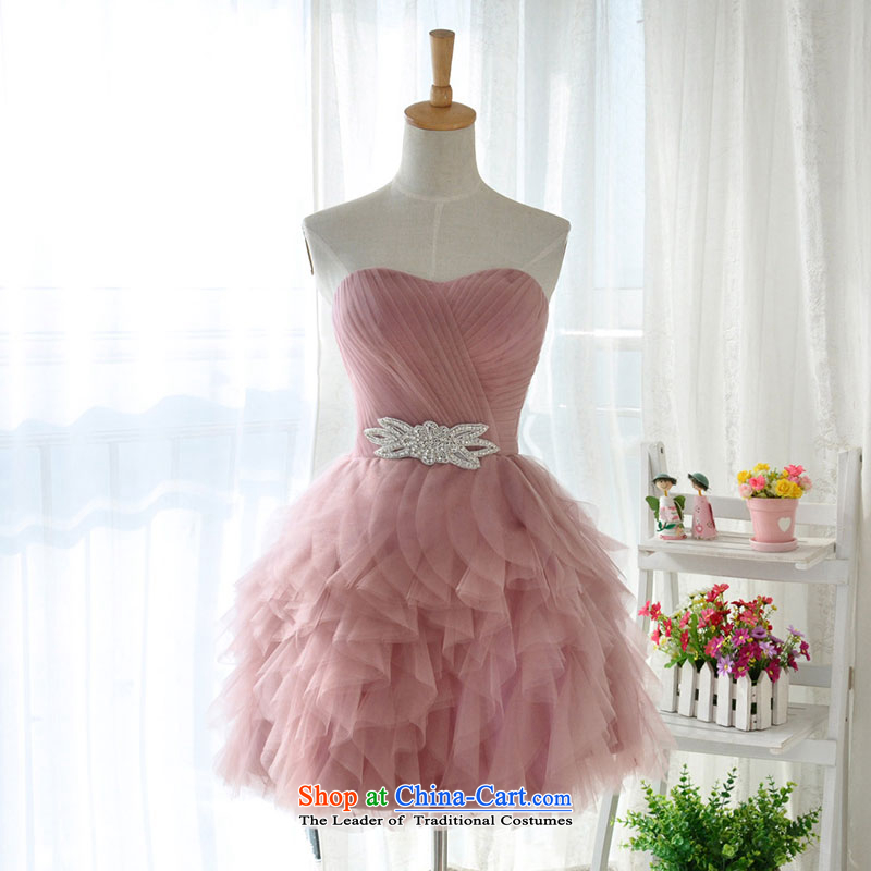 Millennium bride?2015 new Korean bare pink bridesmaid service, wipe the chest small dress moderator performances staged bon bon skirt D6006 bare pink?L_21
