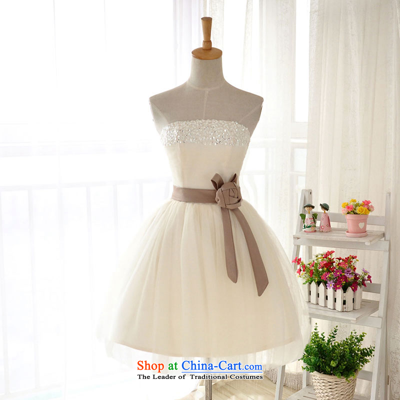 Millennium bride?2015 new champagne color short, wipe the chest bridesmaid small dress sister skirt a female dress D6002 performances banquet?XL/22 champagne color