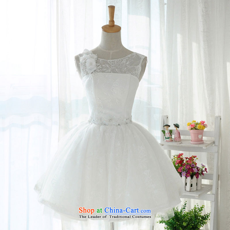 Millennium bride?2015 new short, lace shoulders a small white dress bridesmaid skirt marriages straps performances bon bon skirt D6008?S_19 White