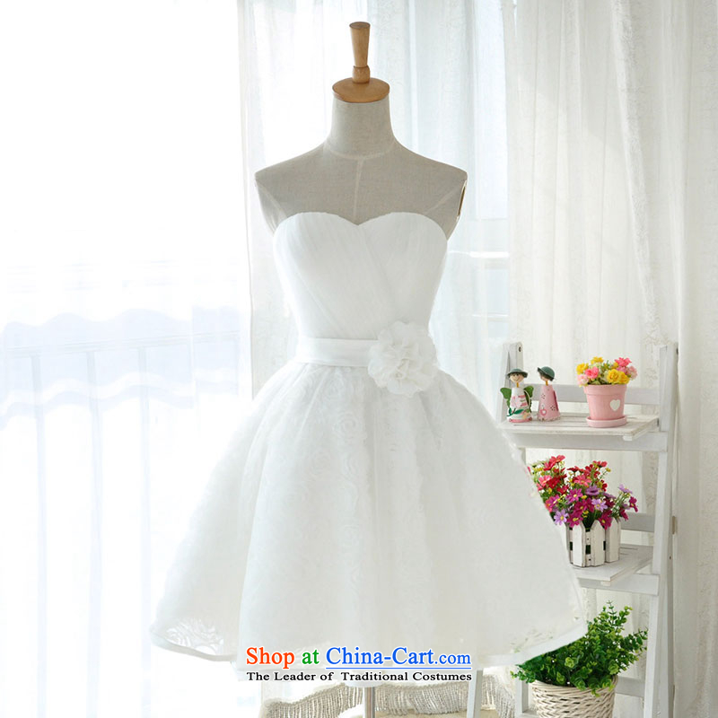 Millennium bride?2015 new Korean white lace anointed Chest Flower small short, wipe the chest dress sister mission bridesmaid D6005 white?XXL_23 services