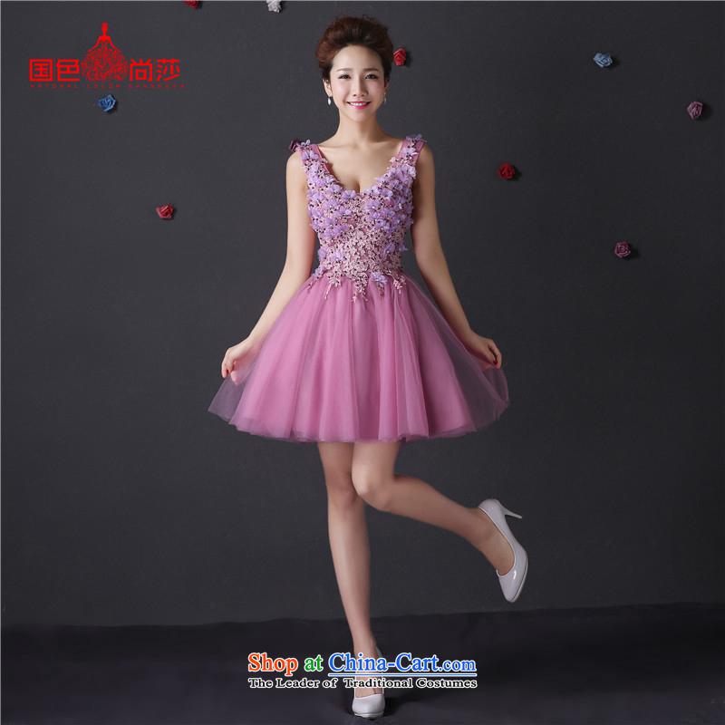 The color is Windsor evening dress autumn and winter 2015 new wedding dresses marriages bows services bridesmaid service long word dresses Sau San banquet hosted at purple shoulders?s