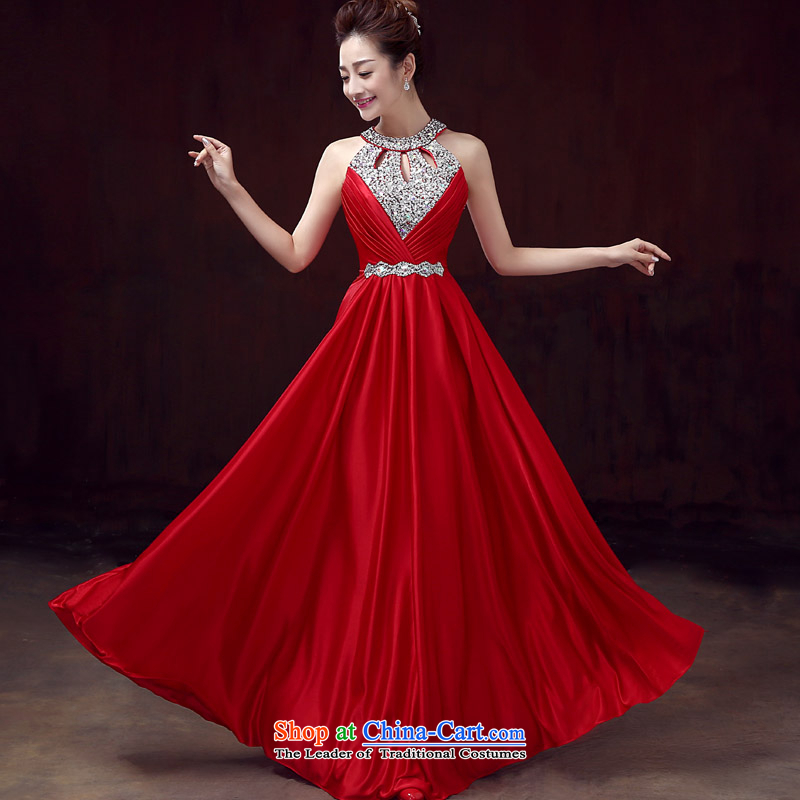 The bride bows services 2015 new beauty and long thin red dress Ms. Hin wedding banquet summer evening dress RED?M