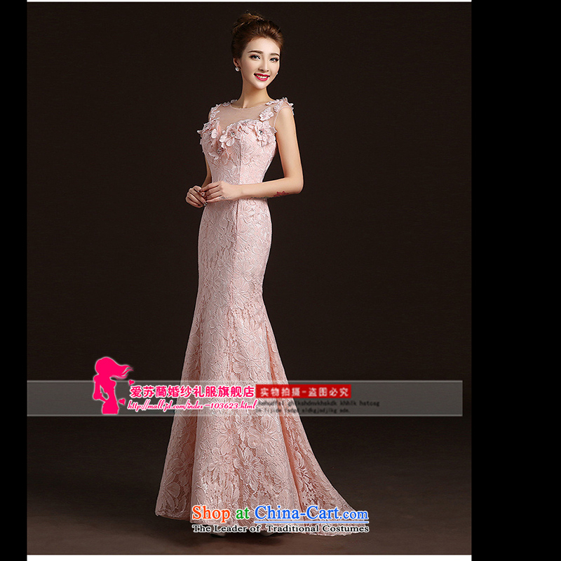 The new 2015 evening dresses lace shoulders long tail bride wedding dress bows service banquet dress pink for female spring dimension is not Not Switch