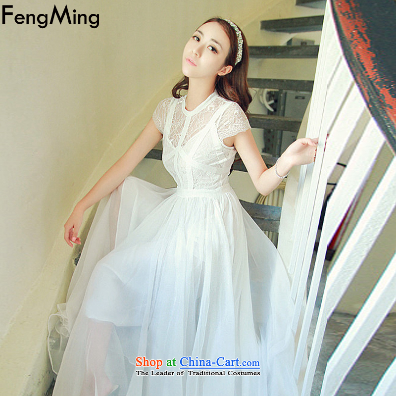 Hsbc Holdings plc Ming Mr Ronald Moonlight Serenade-soo 2015 lace engraving dress long skirt ultra-sin to drag the chiffon large white dresses S